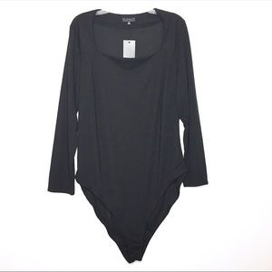 Eloquii Black Square Neck Long Sleeve Bodysuit 16